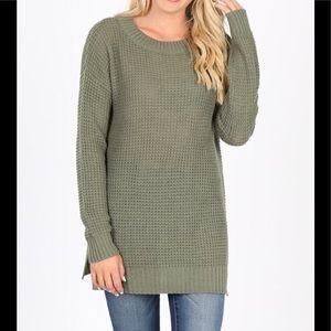 NWT Plus Waffle Olive Sweater